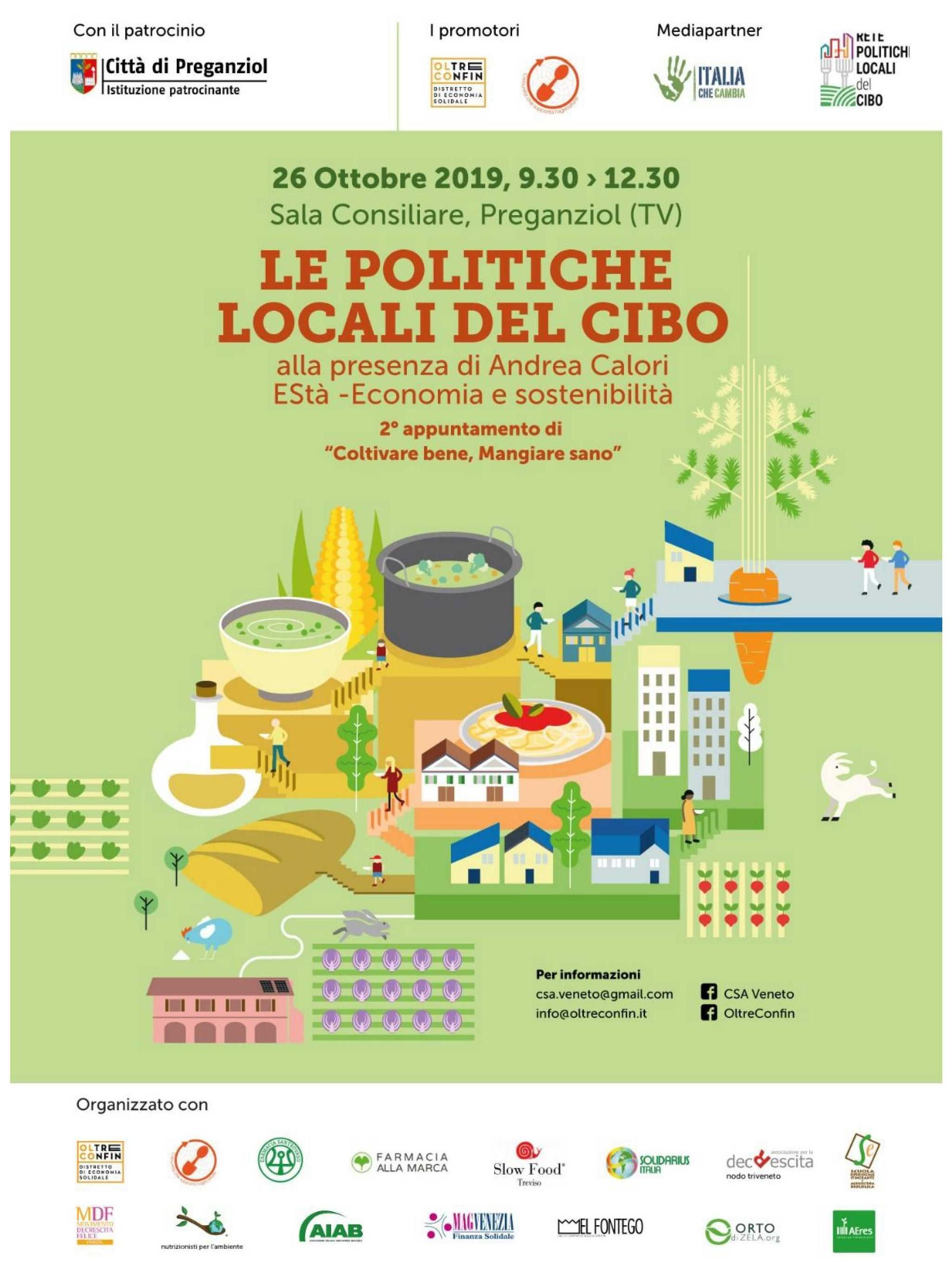 """""""Le politiche locali del cibo """" Sabato 26 ottobre 2019"""