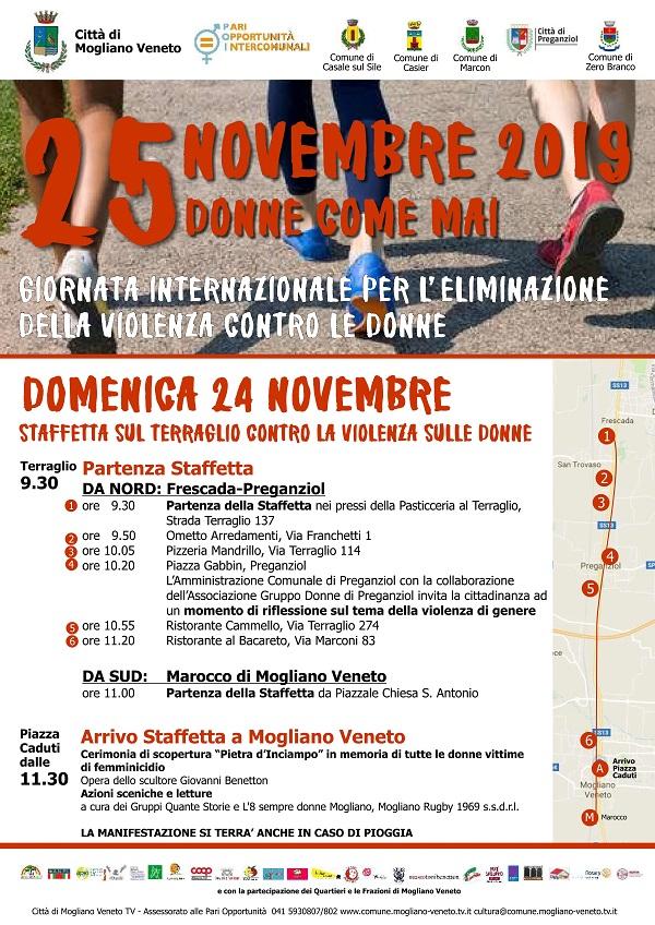 DOMENICA 24 NOVEMBRE staffetta sul terraglio contro la violenza sulle donne