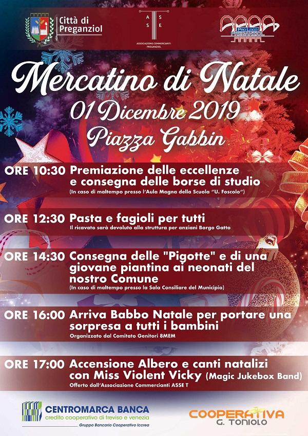 Mercatino di Natale – Domenica 1 Dicembre 2019 Piazza Gabbin