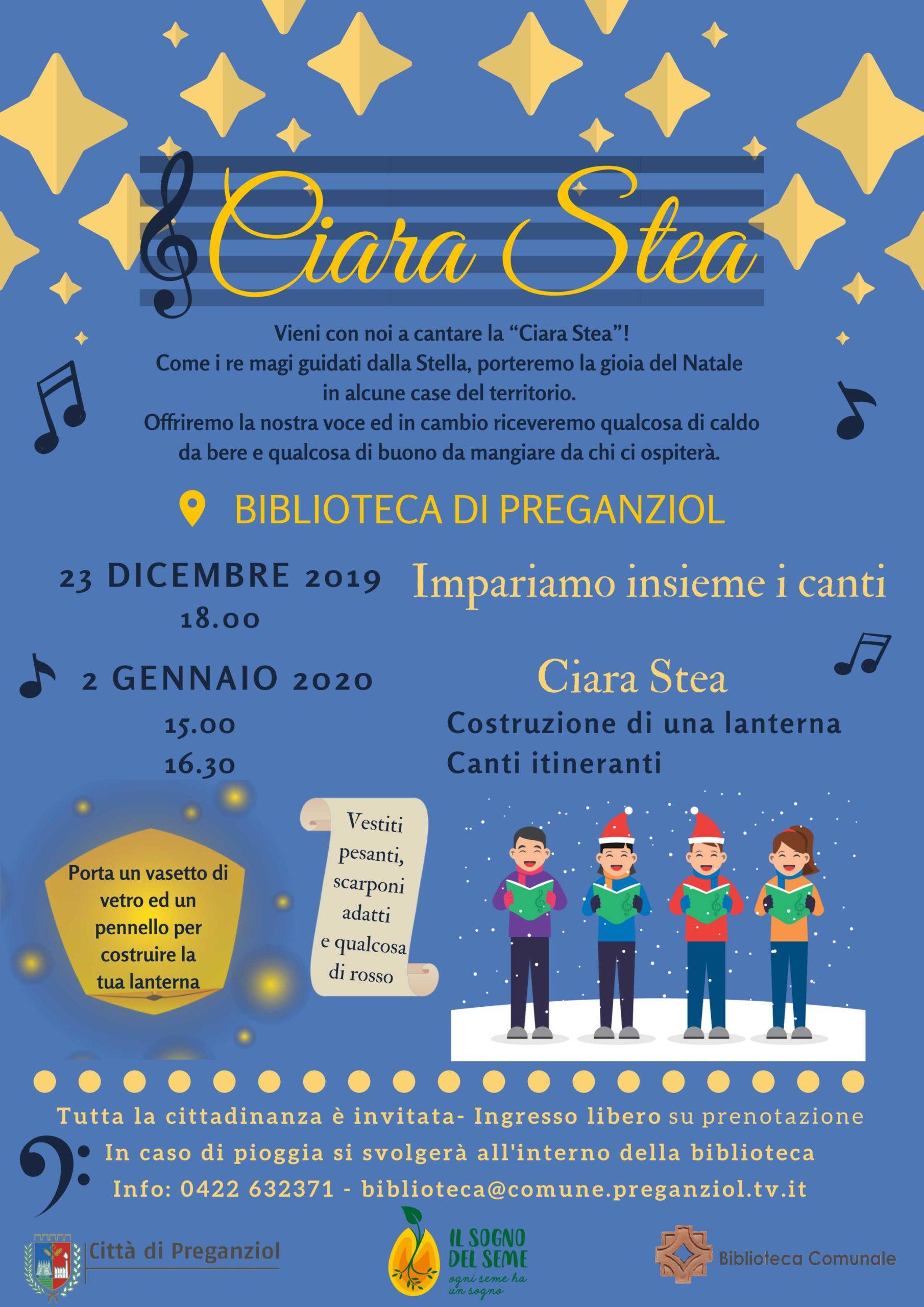 """""""Ciara stea"""" Vieni con noi a cantare! 2 gennaio 2020 in biblioteca comunale"""