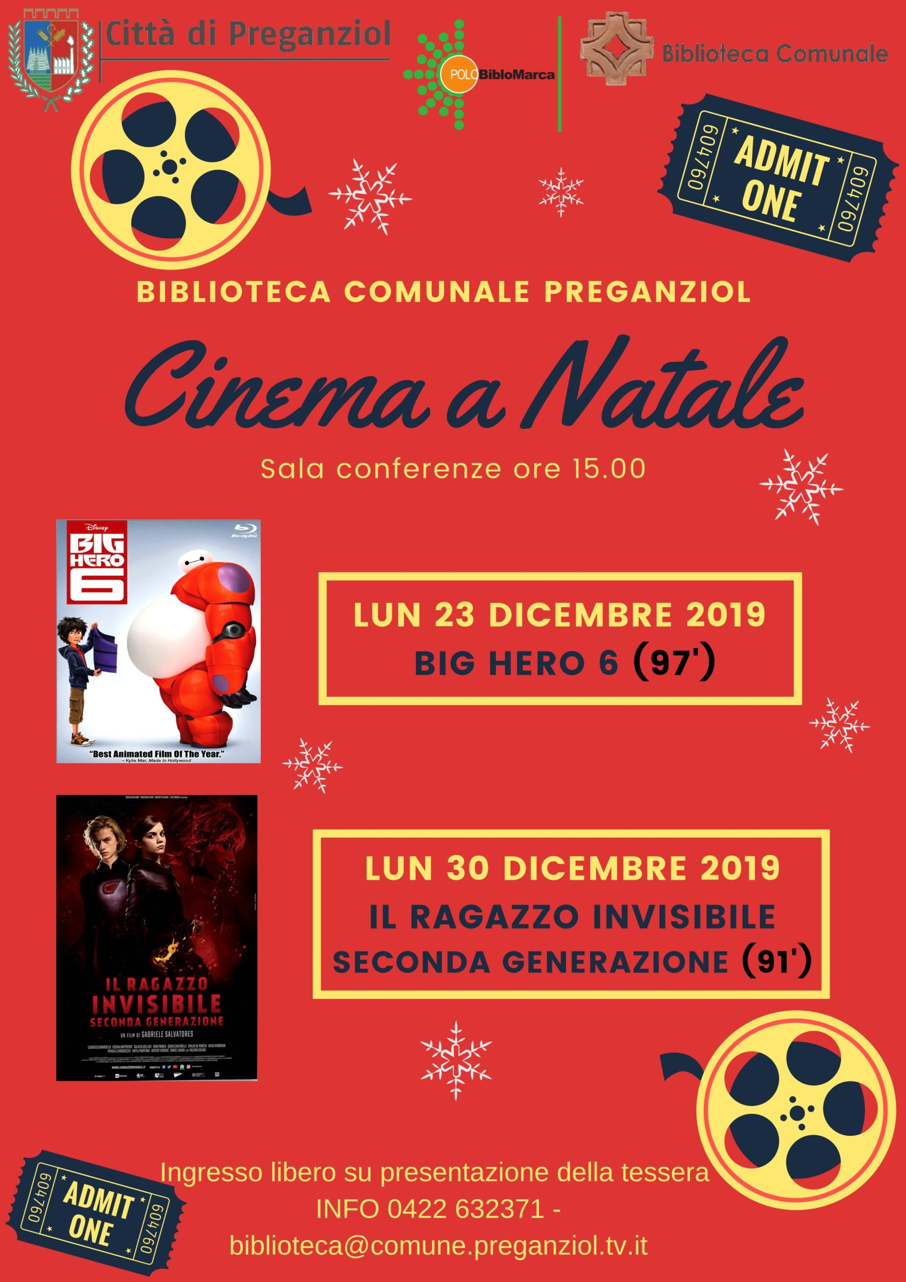 Cinema a Natale Film per ragazzi in Sala Conferenze Biblioteca