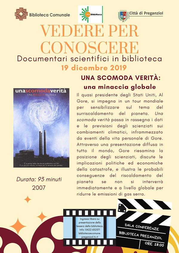 VEDERE PER CONOSCERE documentari scientifici in Biblioteca Giovedì 19 dicembre ore 18.00