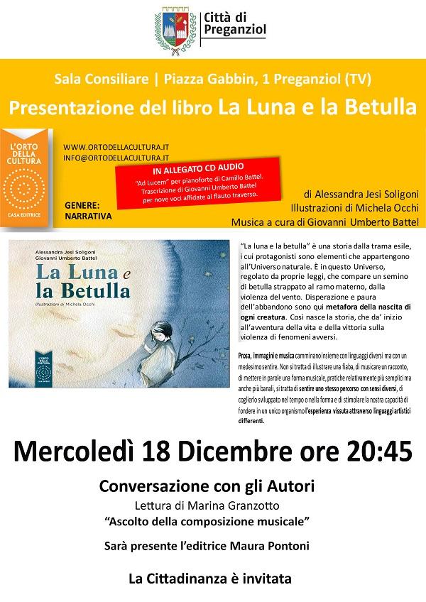 """Presentazione del libro """"La luna e la betulla"""" Mercoledì 18 dicembre ore 20.45"""