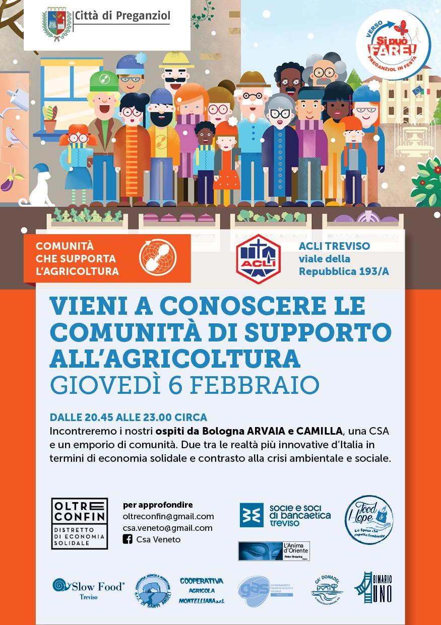COMUNITA' CHE SUPPORTA L'AGRICOLTURA Conferenza giovedì 6 febbraio ore 20.45