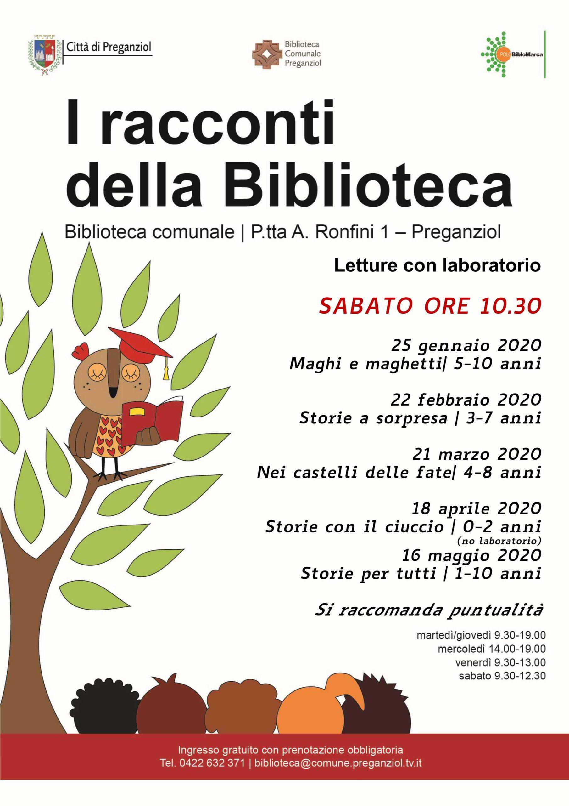 I RACCONTI DELLA BIBLIOTECA Ciclo di letture con laboratorio a cura dell'Albero Parlante