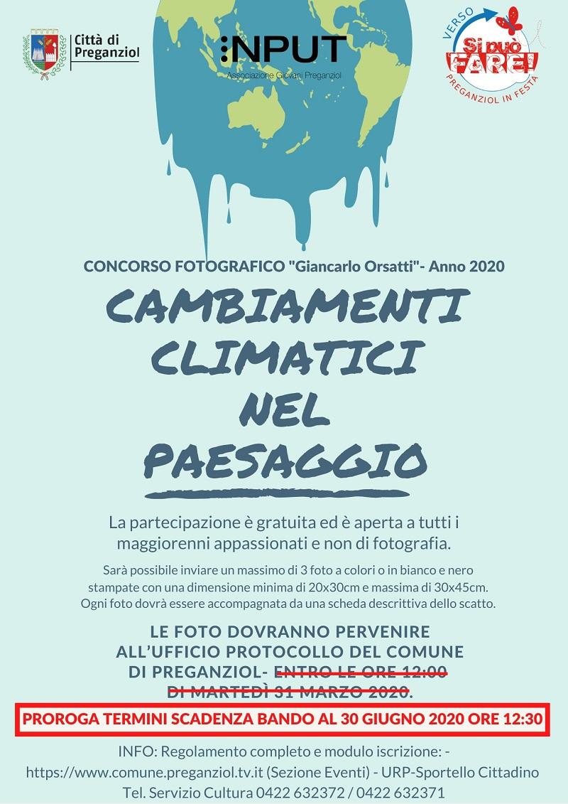 """CONCORSO FOTOGRAFICO """"Giancarlo Orsatti"""" – Anno 2020 –  PROROGA TERMINI DI SCADENZA BANDO"""