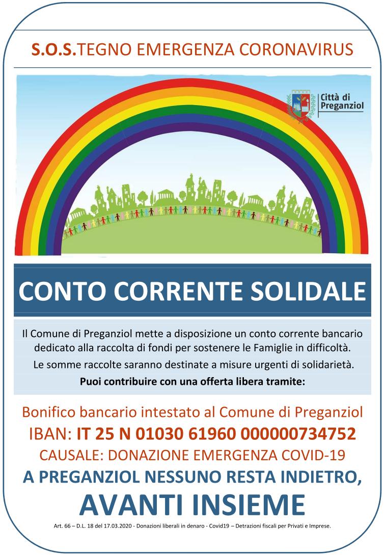 CONTO CORRENTE SOLIDALE Raccolta fondi per sostenere famiglie in difficoltà (COVID-19)