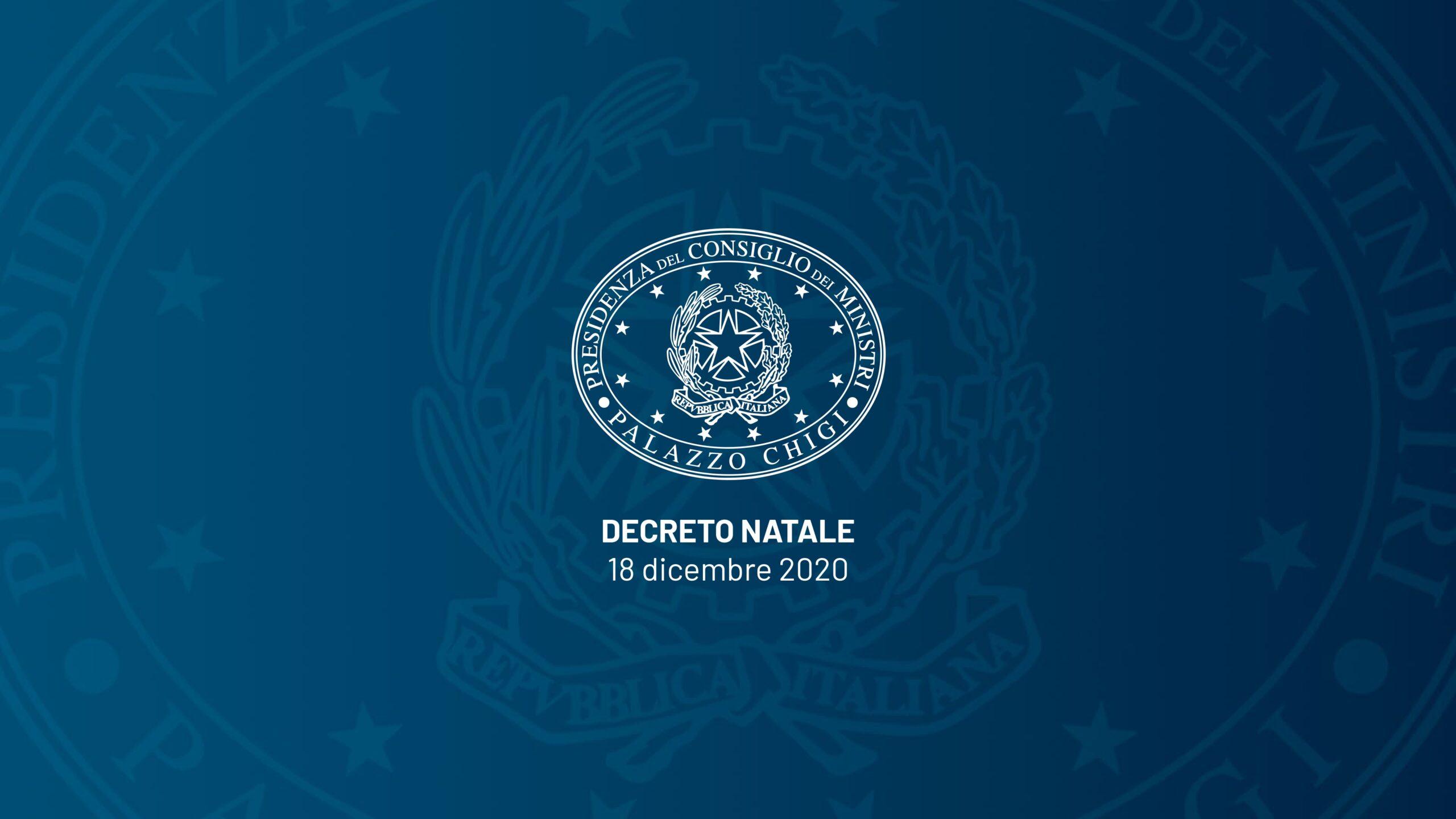 DECRETO NATALE n.172 del 18 dicembre 2020