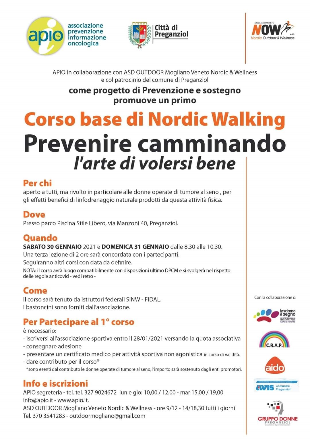 """""""Prevenire camminando: l'arte di volersi  bene"""" – Corso base di Nordic walking"""