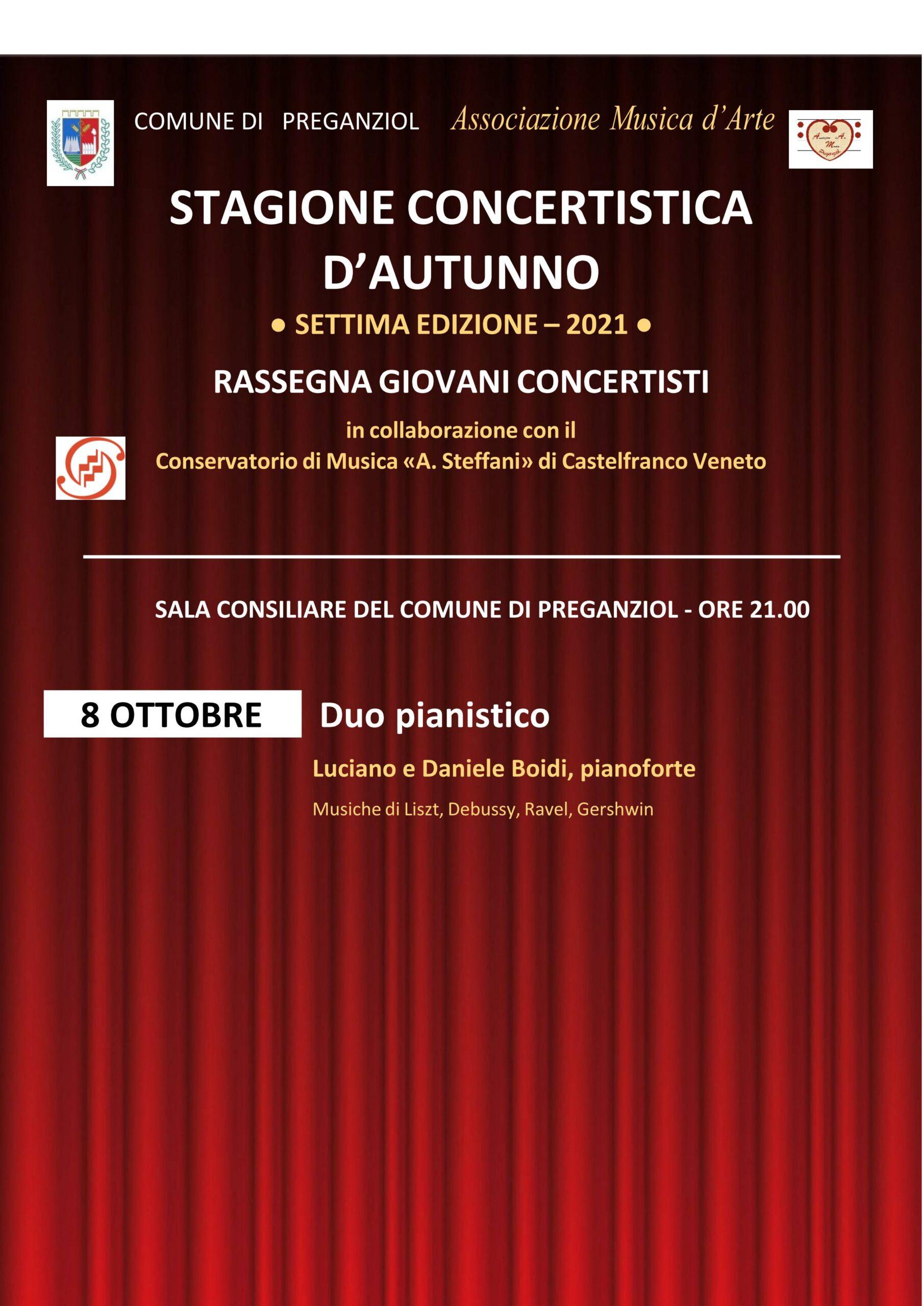 STAGIONE CONCERTISTICA D'AUTUNNO 2021 secondo appuntamento Venerdì 8 ottobre 2021